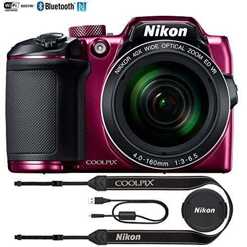 Nikon COOLPIX B500 16MP 40x Optical Zoom Digital Camera w/ Wi-Fi (Plum) - (Certified Refurbished)