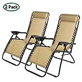 PARTYSAVING Infinity Zero Gravity Outdoor Lounge Patio Folding Reclining Chair Tan Set of 2 APL1002