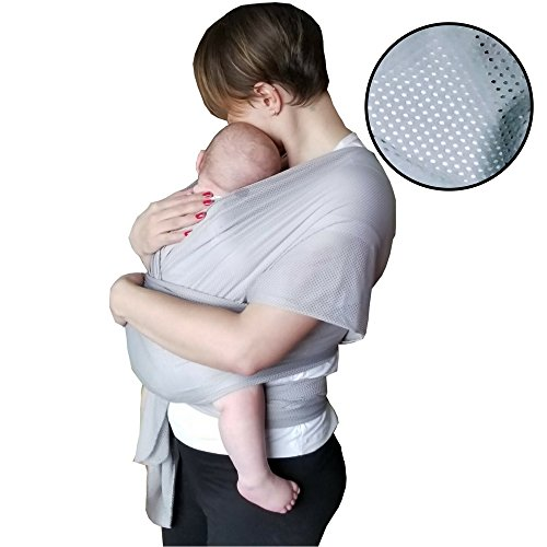 The Breezy Wrap | Quick-Dry Cotton-mesh Baby Carrier | Cool, Breezy, Sweat-Free Baby-Wearing Adventures | Strong and Sturdy but Light and Minimal - 5-35lbs | Supports Charity | (Silver)