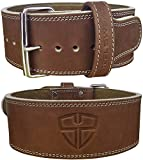 Steel Sweat Weight Lifting Belt - 4 Inches Wide by 10mm - Single Prong Powerlifting Belt That's Heavy Duty - Vegetable Tanned Leather - Hyde Brown Small