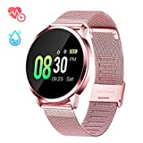 GOKOO Sports Smart Watch for Women with All-Day Heart Rate Blood Pressure Sleep Monitor IP67 Waterproof Activity Tracker Calorie Sport Running Counter Bluetooth Smartwatch Fitness Tracker (Pink)