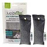 MOSO NATURAL Mini Air Purifying Bag 2 Pack Bamboo Charcoal Air Freshener, Deodorizer, Odor Eliminator, Odor Absorber for Shoes, Gym Bags and Sports Gear Charcoal Color