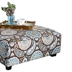 Benjara Contemporary Style Wooden Ottoman with Crafted Details, Multicolor