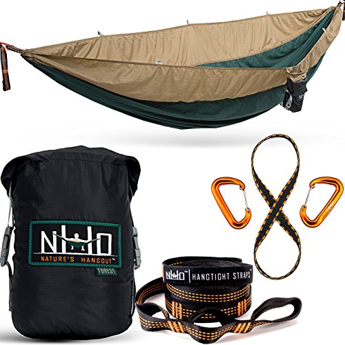 Double Camping Hammock - Portable Two Person Parachute Hammock for Outdoor Hanging. Heavy Duty & Lightweight, Best for Backpacking & Travel. Forest Edition (Green/Khaki)