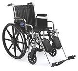 Medline Excel 2000 Wheelchair, 20' Wide Seat, Desk-Length Arms, Elevating Footrests, Chrome Frame