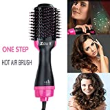 ZDATT Hot Air Hair Brush & Volumizer, 3-in-1 Salon Styling Hair Dryer and Styler, Negative Ion Straightening Brush Curl Brush, Multi-functional for Straight & Curly Hair. UL Swivel Wire b