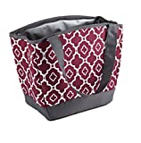 Fit & Fresh Hyannis Insulated Lunch Bag for Women, Soft Cooler Bag with Ice Pack for Work and On-The-Go, Maroon Ikat Geo