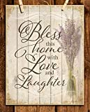 'Bless This Home With Love and Laughter'- Wood Sign Replica Print- 8 x 10'- Ready to Frame. Rustic, Distressed Home Décor-Kitchen Decor-Dining Décor- Great Heartfelt Message-Perfect Housewarming Gift.