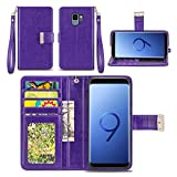 Samsung Galaxy S9 Case - IZENGATE [Classic Series] Wallet Cover PU Leather Flip Folio with Stand (Purple)