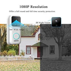 Video-Doorbell-Camera-1080P-FHD-Wireless-WiFi-Smart-Video-Doorbell-with-Chime-Security-Camera-PIR-Motion-Detector-2-Way-Talk-32GB-SD-Card-2-Rechargeable-Batteries-USB-Cable-SD-Card-Reader-SOOCOO