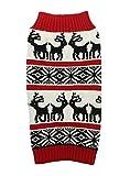Lanyar Ugly Vintage Knit Xmas Reindeer Holiday Festive Dog Sweater for Dogs, Medium M Size