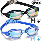 Yizerel Swim Goggles, 2 Pack Swimming Goggles for Adult Men Women Youth Kids Child, No Leaking Anti Fog UV 400 Protection Waterproof 180 Degree Clear Vision Triathlon Pool Goggles