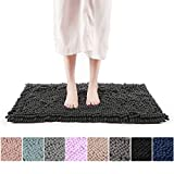 Freshmint Chenille Bath Rugs Extra Soft and Absorbent Microfiber Shag Rug, Non-Slip Runner Carpet for Tub Bathroom Shower Mat, Machine-Washable Durable Thick Area Rugs (16.5' x 24', Black)