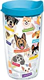 Tervis 1217073 Flat Art - Dogs Tumbler with Wrap and Turquoise Lid 16oz, Clear