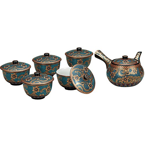 Japanese Tea Set Gold Arabesque Kutani ceramic