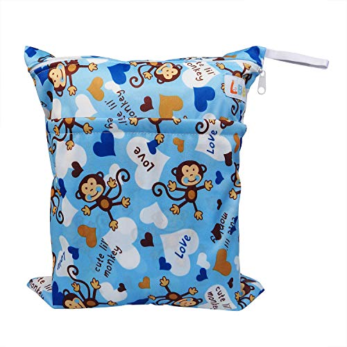 LBB Travel Wet and Dry Cloth Diaper Bag, Monkey Printed