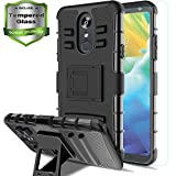 Aetech for LG Stylo 4 Phone Case / Stylo 4 Plus Case with Tempered Glass Protector Screen Kickstand Stand Cover Heavy Duty Durable for Women / Men, Black