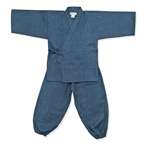 wasuian Big Boys' Samue Work Clothes Kasuri Tsumugi 100 Dark Navy