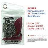 Reliable Replacement 14 Inch Semi Chisel Chainsaw Chain S52 for Craftsman, Echo, Hitachi, Husqvarna 531300372 and Others