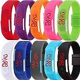 Yunanwa 10 Pack Wholesale Silicone Rubber Gel Jelly Unisex LED Wrist Watch Bracelet Men Women (Style A)
