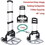 170 lbs Folding Hand Truck Aluminum Portable Folding Collapsible Hand Cart Large Capacity Hand Cart and Dolly Ideal for Home, Auto, Office and Travel Use + Free Stretch Strap