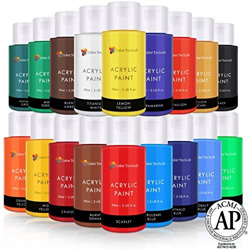 Acrylic Paint Set By Color Technik, Artist Quality, LARGE SET - 18x59ml (2-Ounce) Bottles, Best Colors For Painting Canvas, Wood, Clay, Fabric, Nail Art & Ceramic, Rich Pigments, Heavy Body, GIFT BOX