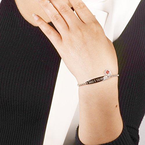linnalove-Pre-Engraved Simple Rolo Chain Medical Alert Bracelet for Women & Girl-NO BP/IV/Needles This ARM deal 50% off 51Df18JpnrL