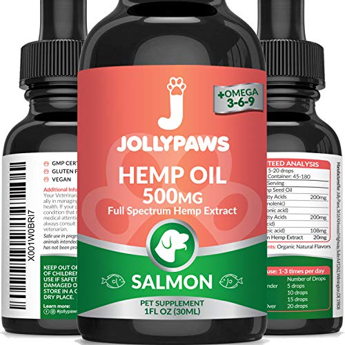Jollypaws Hemp Oil for Cats - (500 MG) - All Natural Pain Relief, Stress & Anxiety Support, Hemp Oil - Salmon Flavor - Made in USA