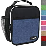 OPUX Premium Insulated Mini Lunch Bag for School | Work Lunch Box for Adult Men, Women | Soft Reusable Cooler Bag with Leakproof Liner | Compact Lunch Pail for Office (Heather Navy)