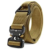 Fairwin Tactical Rigger Belt, 1.7' Nylon Webbing Belt with V-Ring Heavy-Duty Quick-Release Buckle (Brown, S(Waist 30''-36''Width 1.7''))