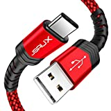 USB Type C Cable,JSAUX(2-Pack 6.6FT) USB A 2.0 to USB-C Fast Charger Nylon Braided USB C Cable compatible Samsung Galaxy S10 S9 S8 plus Note 9 8,Moto Z,LG V30 V20 G5,Nintendo Switch,USB C devices(Red)