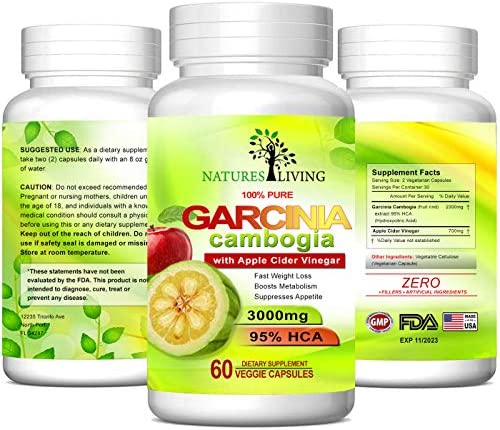 Pure Garcinia Cambogia Extract & Apple Cider Vinegar- 3000mg Capsules - All Natural Weight Loss, Detox, Digestion & Circulation Support - Best Weight Loss Supplement & Carb Blocker (3 Pack)… 5