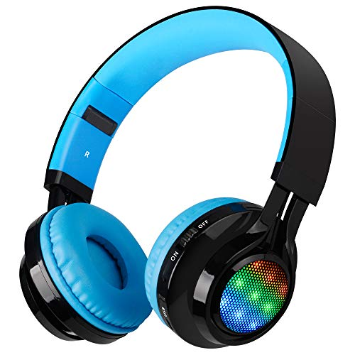Bluetooth Headset, Riwbox AB005 Wireless Headphones 4.0 with Microphone Foldable Headphones with TF Card FM Radio and LED Light for Cellphones and All Bluetooth Enabled Devices (Black&Blue)