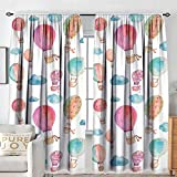 NUOMANAN Rod Pocket Curtains Watercolor,Hand Painted Style Set of Cute Floating Hot Air Balloons with Blue Clouds,Blue Pink Coral,for Room Darkening Panels for Living Room, Bedroom 72'x96'