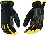 West Chester John Deere JD00029 High Dexterity Synthetic Leather Palm Utility Work Gloves with Touch Screen: Black/Yellow, X-Large, 1 Pair