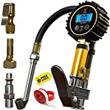 Vondior Digital Tire Inflator with Pressure Gauge (200 PSI) – Air Chuck with Gauge & Inflator Gun with 3 Different Air Chucks + 1/4' NPT. Tire Pressure Gauge for Motorcycle/Car/Truck Tires