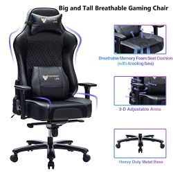 FANTASYLAB 400lb Gaming Chair Big Tall Breathable Office Racing Computer Chair, 3-D Adjustable Armrest Air-Cooling System Heavy Duty Metal Base