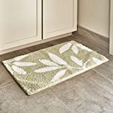 iDesign Leaves Microfiber Polyester Bath Mat, Non-Slip Shower Accent Rug for Master, Guest, and Kids' Bathroom, Entryway, 34' x 21', Green and White
