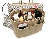 Felt Insert Fabric Purse Organizer Bag, Bag Insert In Bag with Zipper Inner Pocket Beige M