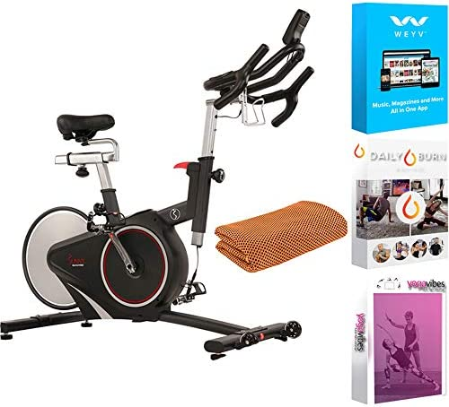 Sunny Health and Fitness Belt Drive Magnetic Indoor Cycling Bike (SF-B1709) with Tech Smart USA Fitness & Wellness Suite & Workout Cooling Towel Orange