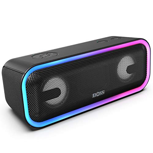 DOSS-SoundBox-Pro-Wireless-Bluetooth-Speaker-with-24W-Impressive-Sound-Booming-Bass-Wireless-Stereo-Pairing-Mixed-Colors-Lights-IPX5-Waterproof-15-Hrs-Battery-Life-66-ft-Bluetooth-Range-Black
