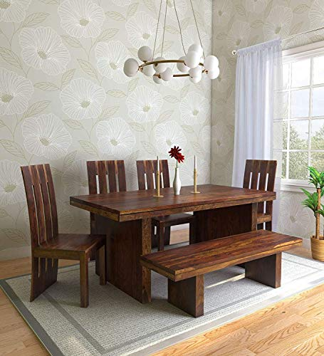 Krishna Wood Decor Sheesham Wooden Dining Table 6 Seater | Dining Table Set with 4 Chairs & Bench | Home Dining Room Furniture | Dark Honey Finish 105