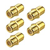 VCE (5-Pack) Gold Plated F-Type Coaxial RG6 Connector,Cable Extension Adapter