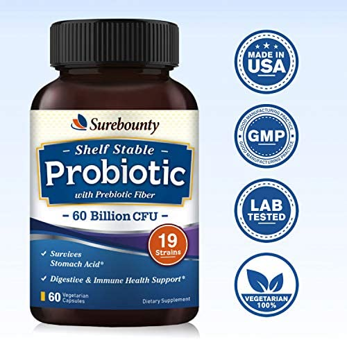 Surebounty Probiotic with Prebiotic, Delayed Release Technology, Shelf Stable, 60 Billion CFU 19 Strains, for Digestive & Immune Health, 60 Vegetarian Capsules, Non-GMO, Gluten Dairy & Soy Free 9