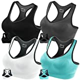 Fittin Racerback Sports Bras Pack of 4- Padded Seamless High Impact Support for Yoga Gym Workout Fitness XXL (Black, Grey, White and Blue)