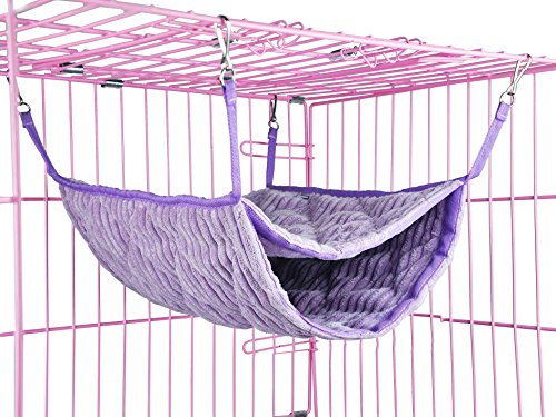 Niteangel Luxury Double Bunkbed Hammock, Fit 2 Adult Ferrets or 5 More Adult Rats (Purple)