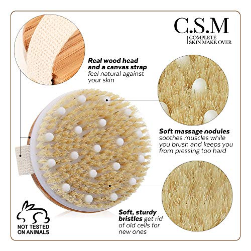 C.S.M. Body Brush for Wet or Dry Brushing - Gentle Exfoliating for Softer, Glowing Skin - Get Rid of Your Cellulite and Dry Skin, Improve Your Circulation - Gentle Massage Nodes 5