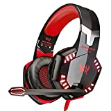 VersionTECH. Stereo Gaming Headset PS4 Xbox One Headset, Wired PC Gamer Headphones with Noise Canceling Mic, LED Lights & in-Line Control for Xbox 1 S/X,Playstation 4, PC Mac Desktop Computer -Red