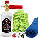 Professional Foam Cannon Pressure Washer Gun - Premium Quality Foam Blaster Bottle with 1/4' Heavy Duty Quick Connector Release - Top Snow Foam Lance Brass Knob - Comes with a Detail Car Cleaning Kit