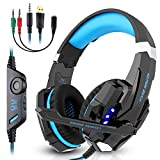 Gaming Headset, Candywe G9000 3.5mm Stereo Gaming Headphone for PS4, PC, Xbox One Controller, Wired Headset Earphone Headband with Microphone LED Light, Volume Control, Noise Canceling, Bass Surround